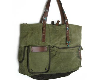 Army Green Tote Bag, Army Recycled Bag, Recycled Military Bag, Repurposed Army Bag, Leather Canvas Bag, Upcycled Army Bag, Army Shoppers Bag