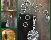 Hobbit and Lord of the Rings inspired, Ring Stitch Markers, ring markers, knitting supplies, snagless, knitting, stitchmarkers