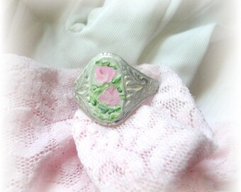 Victorian Style Silver Painted Roses Cameo Ring Boho Shabby Chic Romantic Pink Enamel Flowers White Adjustable Ring