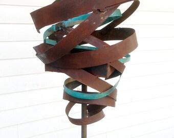 Sculptural Steel & Copper Bird Feeder No. 365 - Freestanding unique modern bird feeder