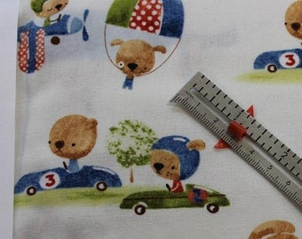 """Aviator Bunny Cute little Bears Rabbits in cars airplanes  100% cotton fabric 42-44"""" wide"""