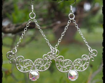 Sterling Silver and Swarovski Crystal Filigree Chandelier Earrings - Ready to Ship - Gothic Fantasy Elven Cosplay Sparkling 925