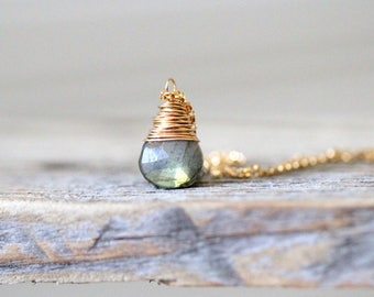 Labradorite Pendant Necklace , Gold , Rose Gold , Sterling Silver , Natural Wire Wrapped Gemstone Necklace , Gorgeous Green Flash