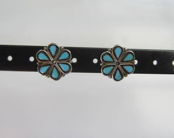 Vintage Zuni Native American Sterling Silver Petit Point Turquoise Flower Post Back Earrings - 1788