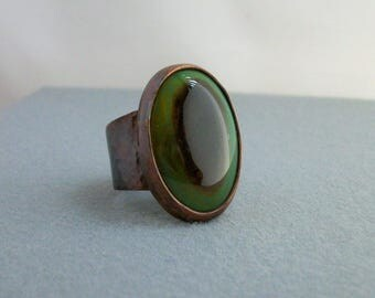 Antiqued copper ring with multi color agate cabochon, size 12 US - copper jewelry - men's rustic copper ring- agate jewelry- men's ring