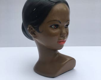 Marwal Chalkware Bust African American Beauty Mid Century Home Decor Polynesian