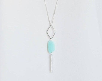 Long sterling silver box chain necklace with silver marquise finding, Peruvian blue opal bead and  silver tassel.Tassel necklace, Geometric