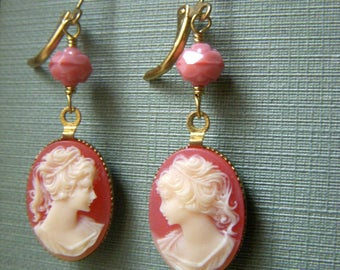 Cameo Lady Earrings, Coral Floral Earrings, Vintage Style Brass Earrings, Romantic Victorian Dangle