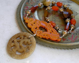 Carved Jade Necklace Dragons Gemstones Sterling Silver Mixed Metals Metaphysical Healing Stones