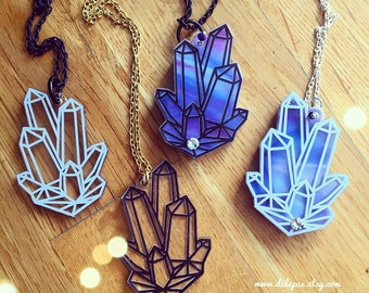 CRYSTALS laser cut acrylic necklace