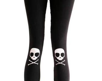 Agoraphobix Skully Knee Pad Skull Print punk leggings