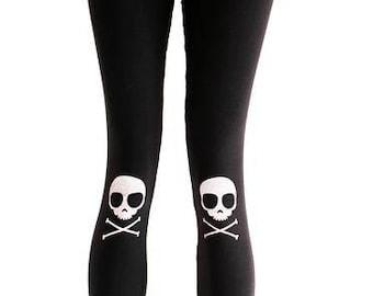 Skully Knee Pad Skull printed leggings punk leggings | workout leggings black leggings