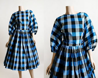 Vintage Plaid Dress - 1960s Puff Sleeve Black and Aquamarine Blue Plaid Gingham Lolita Dolly Dress - Square Dance Style - Mr. Mike - Medium