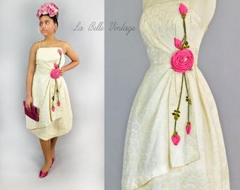 Vintage 60s Ivory Brocade Dress XS S HUGE Rose Applique Asymmetrical Bodice Sarong Skirt