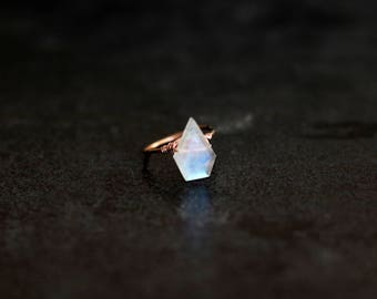 Rainbow Moonstone Statement Ring white and gold Diamond shape Astra Ring June birthstone Under 75 VitrineDesigns
