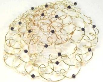 "Womens Kippah - Kippot - Headcovering - Gold White Dark Blue 4.25"""
