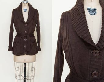 1970s Brown Cardigan --- Vintage Knit Sweater