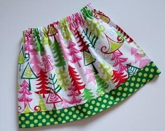 Girls Skirt 3t Christmas Skirt Yule Trees Skirt Michael Miller Holiday Skirt toddler skirt Christmas Party Funky Christmas Ready to Ship