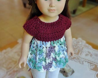 Crochet Shirt Blouse Top Baby Doll for 18 inch AG American Girl Doll Green Purple Blue White