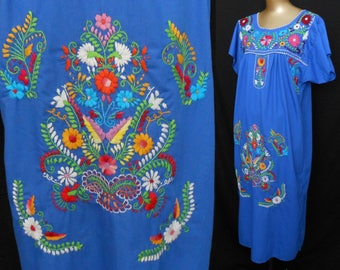 Vintage 70s Oaxacan Mexican Dress, Multi Color Hand Embroidered Blue Cotton Dress, Size M Medium
