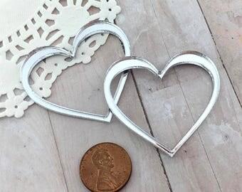 SILVER MIRROR HEARTS - Cut Outs - Laser Cut Acrylic