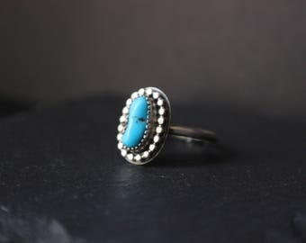 Sleeping Beauty Nugget Turquoise Sterling Silver Stacker Ring | Size 6.5 | December Birthstone | Women's Minimalist Boho | Gugma Jewelry