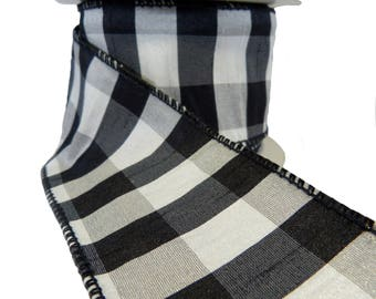"""3 Rolls Of Black White & Silver Check Wired Ribbon  2.5"""" Wide"""