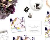 Bold Ultra Violet Marble Calling Cards | Business Cards | Blogger Cards | Set (50)