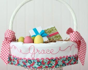 PRE-ORDER 2019, Easter Basket, Personalized Easter Basket Liner, fits Pottery Barn Kids Baskets, Monogrammed Easter Basket, Hand EmbroIdered