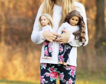 Matching Girl Doll Clothes fits American Girl Doll OR Wellie Wisher - Navy Floral Leggings, 3m, 6m, 12m, 18m, 2T, 3T, 4T, 5, 6, 7, 8, 10, 12
