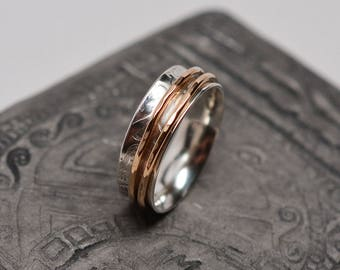 1/4 inch wide textured argentium sterling silver & 14k gold filled wire bands spinner ring - ready to ship