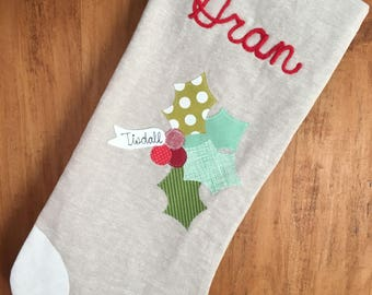 Holly and Berries Modern Christmas Stocking Linen