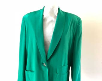 Emerald Green Dior Jacket Vintage 1980s Boxy Blazer size 12