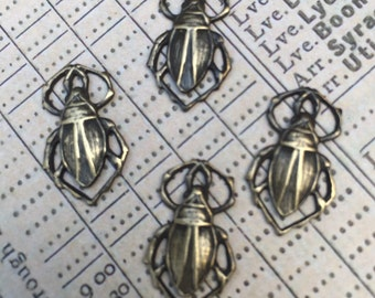 4 Antiqued Brass Bettle Stampings