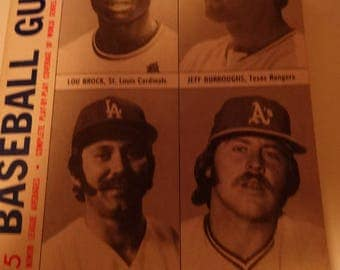 1975 Official Baseball Record Book, Lou Brock,Jeff Burroughs, Mike Marshall, Jim Hunter, Schedules, All Star Games, Championship Series