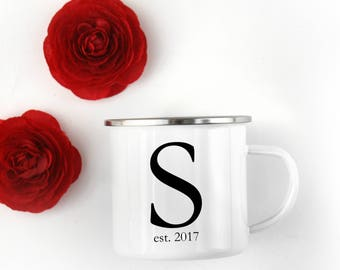 Wedding Gift. Anniversary Gift. Camp Mug. Personalized Mug. Coffee Mug. Initial Mug. Gift with Initial. Cast Iron Mug. Enamel Mug.