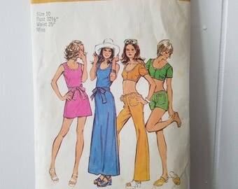 Vintage Dress Simplicity Pattern 5029 Misses' Dress In Two Lengths, Top & Hip Hugger Pants or Short Shorts 1972, Bell Bottoms