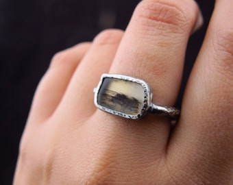 Solitaire ring / Everyday jewelry / Dendrite Agate / Raw design / Gemstone jewelry / Gift for her / Rustic Jewelry / Silver Ring / Keepsake