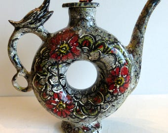ceramic art teapot contemporary teapot donut shaped grey red black modern tea pot hand painted