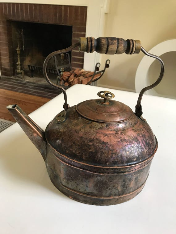 Antique Decorative Copper and Brass Revere Tea Kettle
