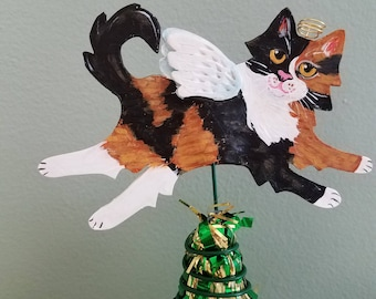 Calico Cat Angel Tree Topper - Cat Tree Topper - Mini Tree Topper - Christmas Tree Topper - Topiary Topper - Cat Theme Tree