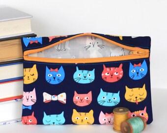 Cat Zipper Pouch Accessory Case Retro Kitten Wallet