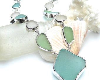Large Sea Glass Bezel Set Necklace | Sea glass and Sterling Silver | Sea Glass Necklace | Beach Glass Necklace | Statement Necklace