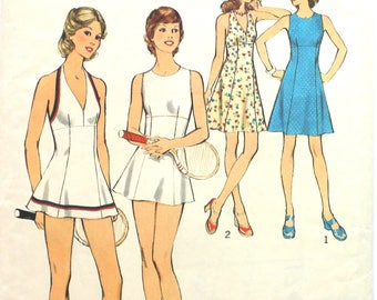 Tennis or Regular Dress and Panties Bust 32.5 Size 10 Style 4589 Vintage Sewing Pattern