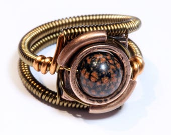 Red Snowflake Obsidian Ring, Steampunk Jewelry, Steampunk Ring