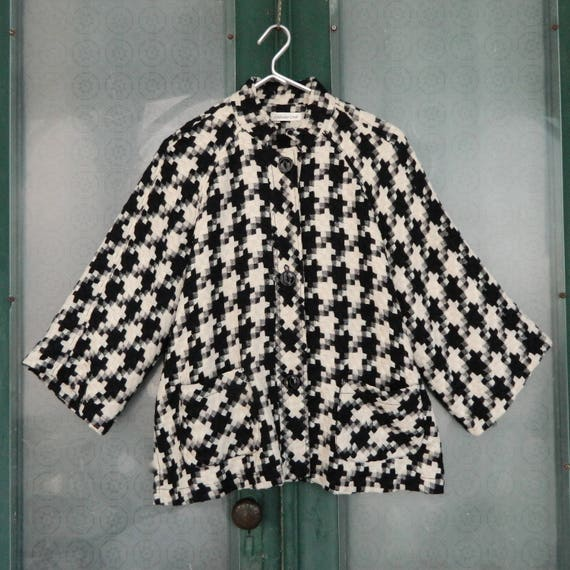 Coldwater Creek Lined 3/4 Sleeve Jacket -M/L- Black and Ivory Check Weave