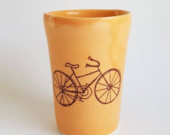 Small Handmade Porcelain Cup with Bicycle Design