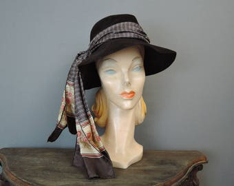 Vintage Boho Hat with Silk Scarf, Brown Felt Slouch Hat, fits 21 inch head