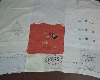 Lot of 8 Vintage Guest Towels, Embroidered, Handmade Novelty Linens, 1940s 1950s