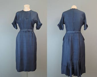 Vintage 1950s Navy Dress 35 bust, Fantail Pleats Dressy Rayon